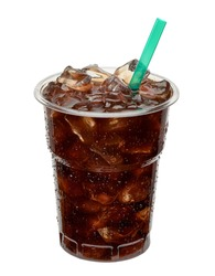 Cold brew coffee in takeaway cup isolated on white background. Clipping path included