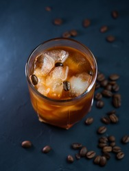 Cold brew iced coffee. Refreshing cold summer drink on a dark table
