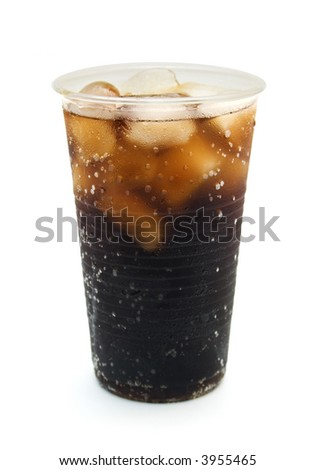 cold brown drink in plastic glass