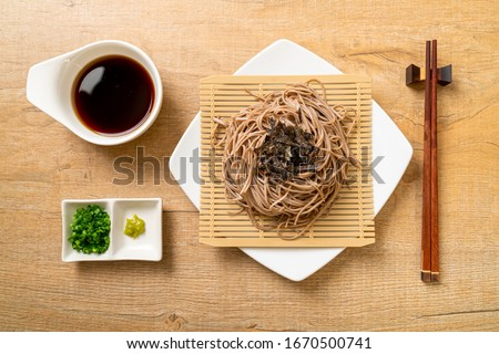 cold buckwheat soba noodles or zaru ramen - Japanese food style Stock fotó ©