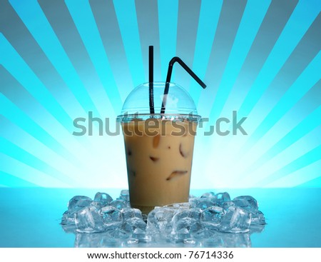 Cold coffee drink on abstract blue background