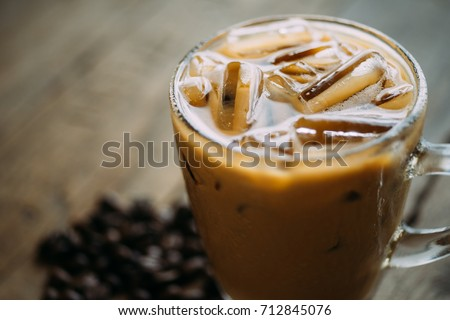 Cold Coffee On Wood background. #712845076