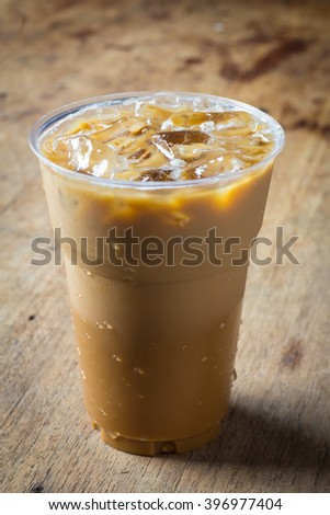 Cold Coffee On wooden table #396977404