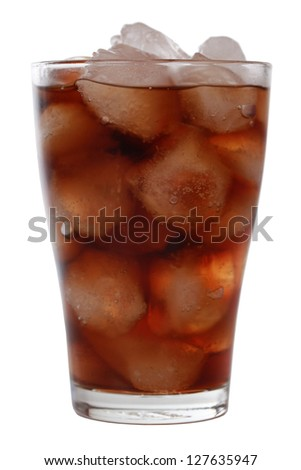Cold cola in a glass with ice cubes, isolated on a white background