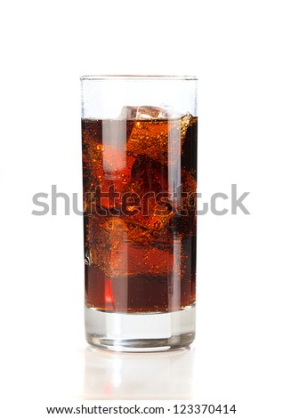 Cold Cola with ice in a sweaty glass