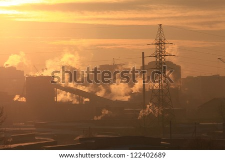 cold day in the city, the smoke from the chimneys, global cooling