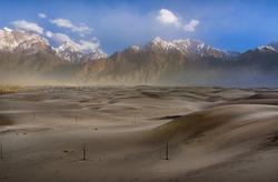 cold desert in Karakorum range , desert with snow mountain