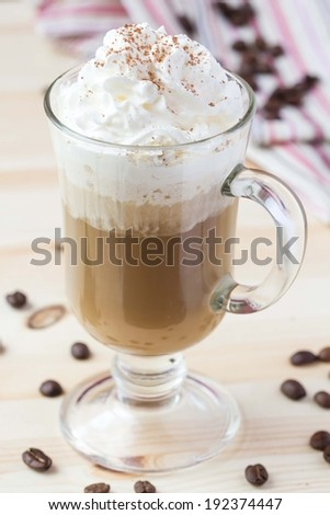 Cold drink, summer coffee with whipped cream, ice, chocolate, tasty