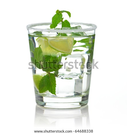 cold drink with peppermint and lime