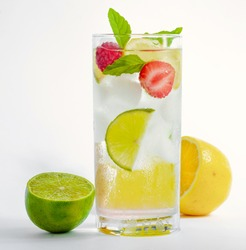 cold fresh cocktail lemonade drink on white background