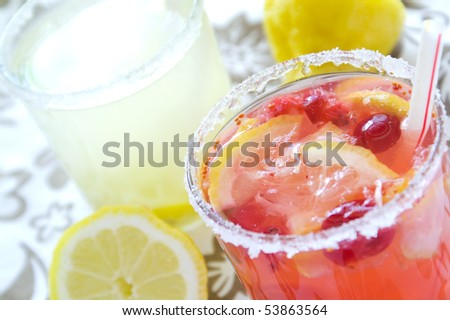 cold fresh lemonade drink  close up