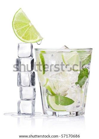 Cold fresh lemonade. Ice cubes and glass on a white background.