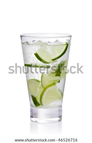 cold fresh lemonade. Isolated on white background, with clipping path - stock photo
