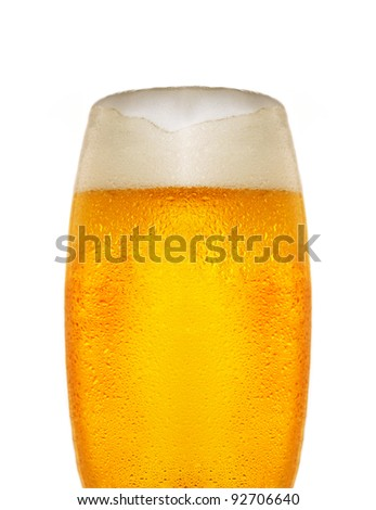 Cold glass of beer close up