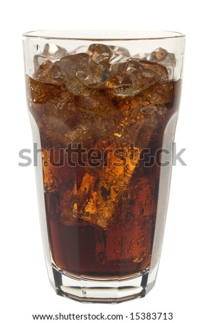 Cold glass of dark cola or soda with ice against white.