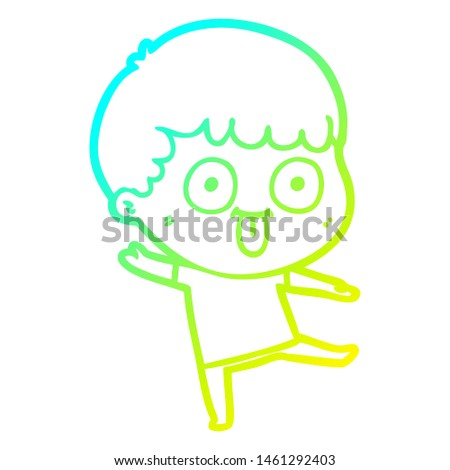 cold gradient line drawing of a cartoon dumb kid
