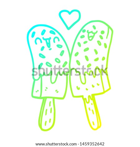 cold gradient line drawing of a cartoon ice lolly in love