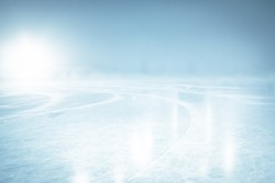 COLD ICE BACKGROUND, BLUE WINTER ICY BACKDROP WITH BLANK SPACE, ICE HOCKEY STADIUM FIELD, GLOWING WINTER BACKDROP FOR MONTAGE FRESH PRODUCTS OR CHRISTMAS PRESENTS