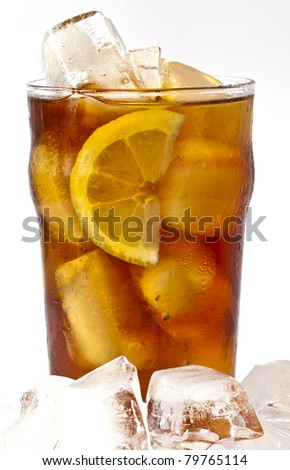 Cold iced tea with lemon on bed of ice