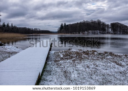 Cold lake in the winter time