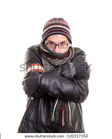 Cold man trying to stay warm in winter