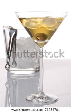 Cold martini with olives