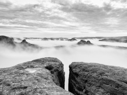 Cold misty autumn land in shadows. Rocky gulch full of blue fog and Sun is hidden in mist. Black and white photo