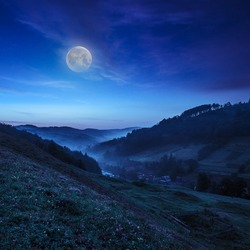 cold morning fog on a hillside meadow near mountain village at night in moon light