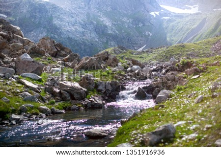 cold mountain river. Mountain river stream valley scenery landscape.