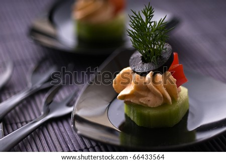 Cold party appetizer with cheese
