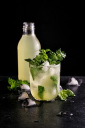 cold refreshing lemonade with ice and mint to quench your thirst in summer