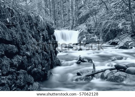 cold river with cold water