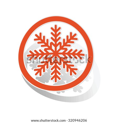 Cold sign sticker, orange circle with image inside, on white background