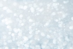 COLD SNOW BACKGROUND, LIGHT WINTER BOKEH, WHITE BLURRY LIGHTS PATTERN, CHRISTMAS BACKDROP
