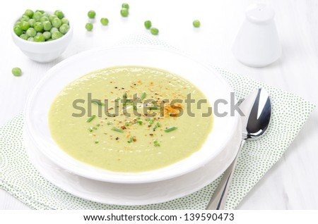 cold soup of green peas with yogurt and chives horizontal