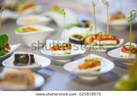 Cold starters on a buffet