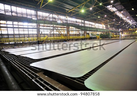 Cold steel plate on conveyor