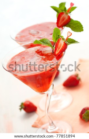 Cold strawberry drink with mint