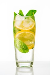 Cold summer drink on white background