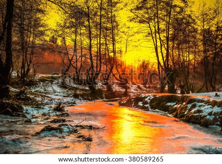 Cold sunset - Oil painting, digital illustration art work.\ Cindrel river, Cisnadioara village area, Sibiu county, Romania.