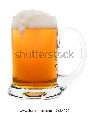 Cold tasty beer in a mug