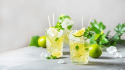 Cold tea with lime, mint and ice, selective focus image and slider format