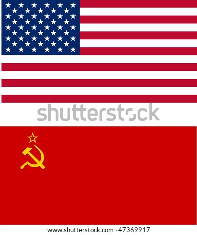 cold war - USA vs USSR flags - isolated illustration