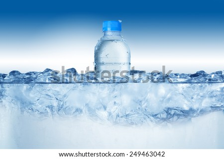 Cold Water Bottle In Ice Bucket with Ice Cubes #249463042