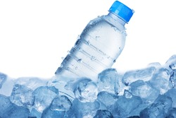 Cold Water Bottle On Ice Cubes