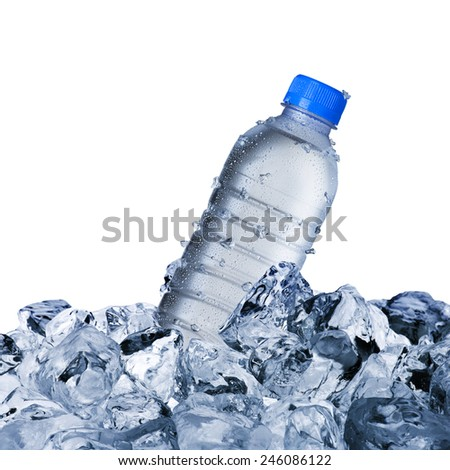 Cold Water Bottle On Ice Cubes #246086122