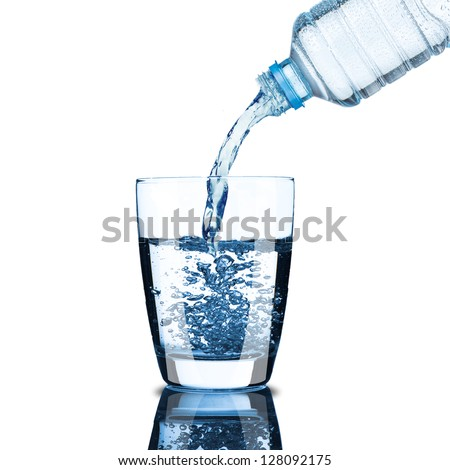 Cold water bottle pour water to glass on white background