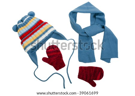 Cold winter clothing - hat or cap, scarf, mitten