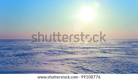 cold winter in the polar tundra in Siberia - stock photo