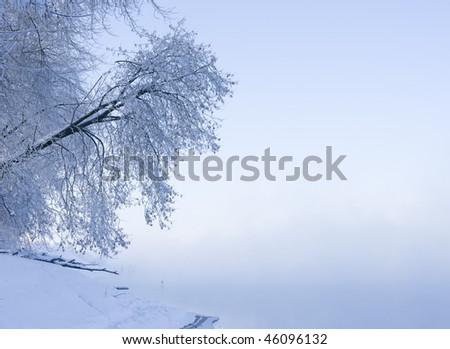 Cold winter landscape, blue filter to express extreme cold, lots of copy space